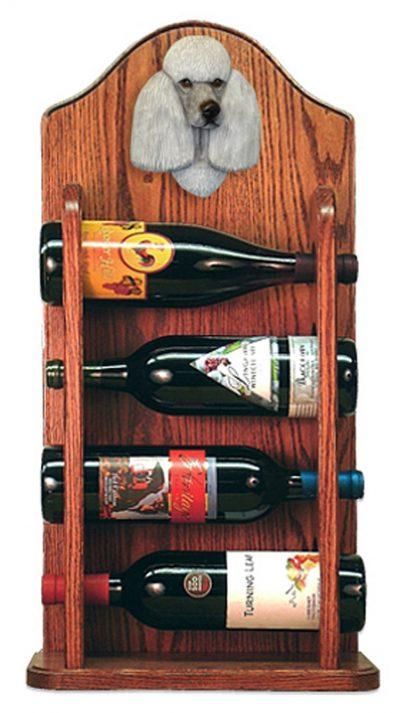 Poodle Dog Wood Wine Rack Bottle Holder Figure Grey 3
