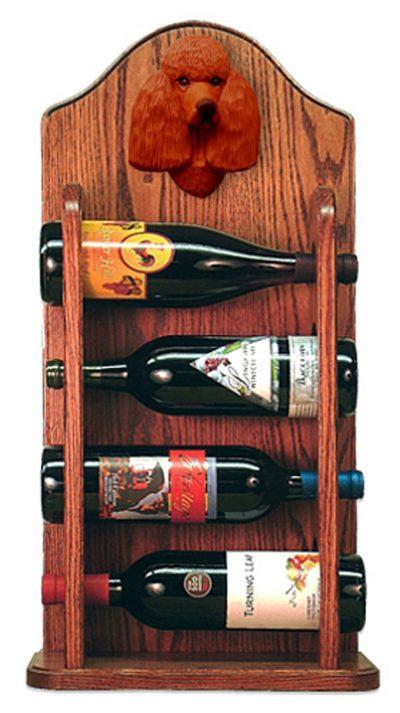 Poodle Dog Wood Wine Rack Bottle Holder Figure Red 3