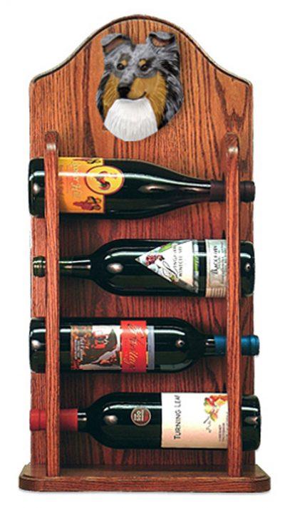 Sheltie Wood Dog Wood Wine Rack Bottle Holder Figure Blu 3