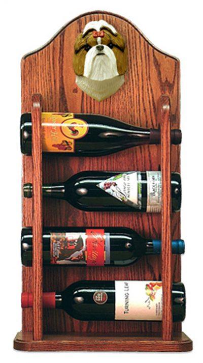 Shih Tzu Dog Wood Wine Rack Bottle Holder Figure Brn/Wht 3