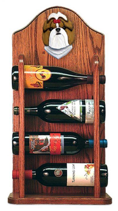 Shih Tzu Dog Wood Wine Rack Bottle Holder Figure Gold/Wht 3