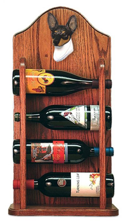Toy Fox Terrier Dog Wood Wine Rack Bottle Holder Figure Tri 3