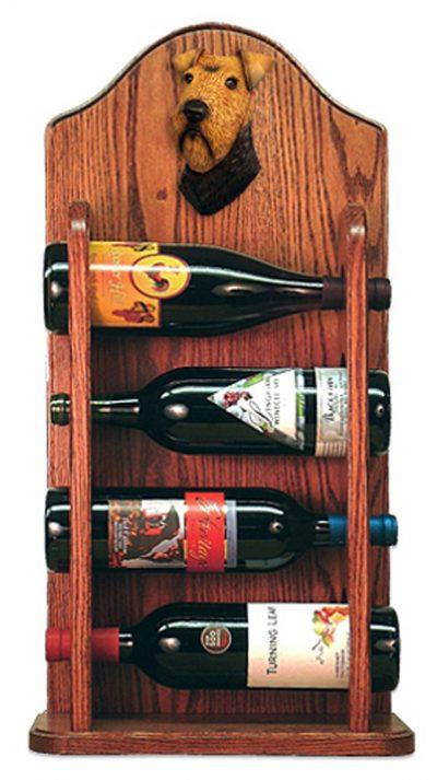 Welsh Terrier Dog Wood Wine Rack Bottle Holder Figure 3