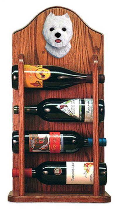 West Highland Terrier Dog Wood Wine Rack Bottle Holder Figure 3