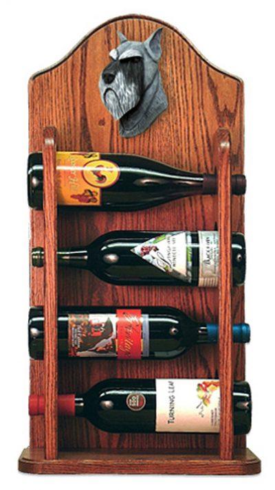 Schnauzer Dog Wood Wine Rack Bottle Holder Figure Salt/Pepper 3
