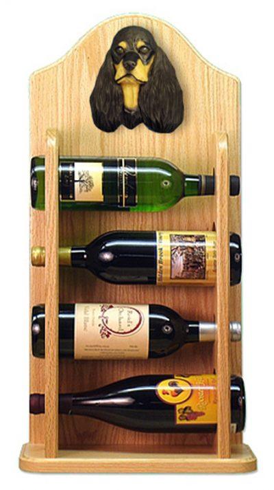 Cocker Spaniel Dog Wood Wine Rack Bottle Holder Figure Blk/Tan 4