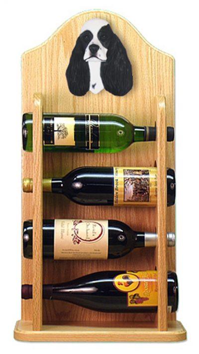 Cocker Spaniel Dog Wood Wine Rack Bottle Holder Figure Blk Parti 4