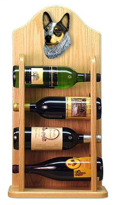 Australian Cattle Dog Wood Dog Wood Wine Rack Bottle Holder Figure Blu 4