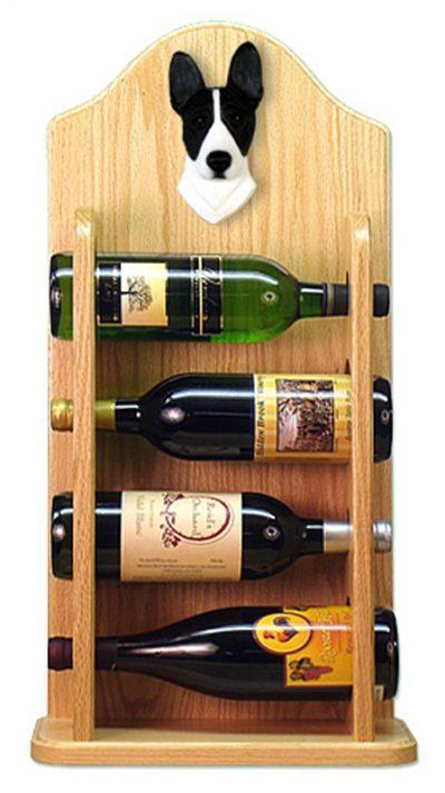 Basenji Dog Wood Wine Rack Bottle Holder Figure Blk/Wht 4
