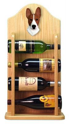 Basenji Dog Wood Wine Rack Bottle Holder Figure Red/Wht 4