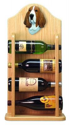 Basset Hound Dog Wood Wine Rack Bottle Holder Figure Red/Wht 4