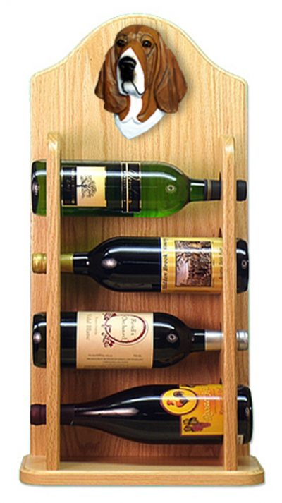 Basset Hound Dog Wood Wine Rack Bottle Holder Figure Tri 4