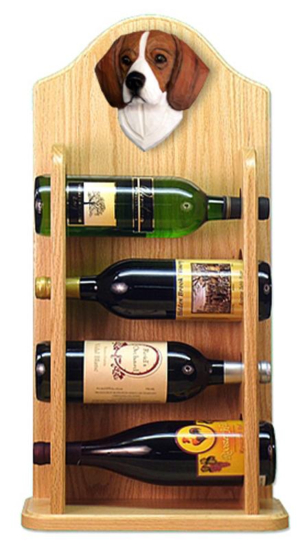 beagle dog wood wine rack bottle holder figure tri