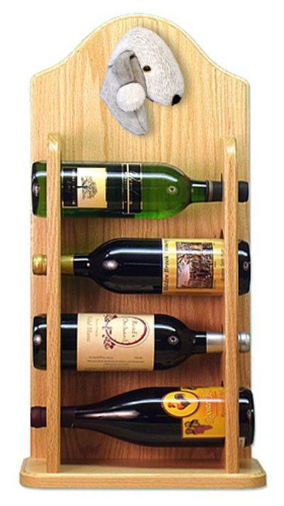Bedlington Terrier Dog Wood Wine Rack Bottle Holder Figure Blu 4