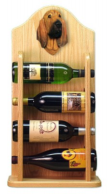 Bloodhound Dog Wood Wine Rack Bottle Holder Figure 4