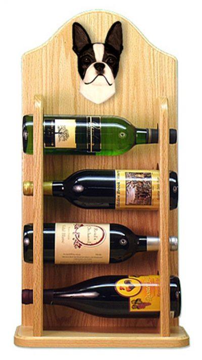 Boston Terrier Dog Wood Wine Rack Bottle Holder Figure Blk 4