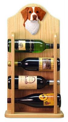 Brittany Dog Wood Wine Rack Bottle Holder Figure Orange 4