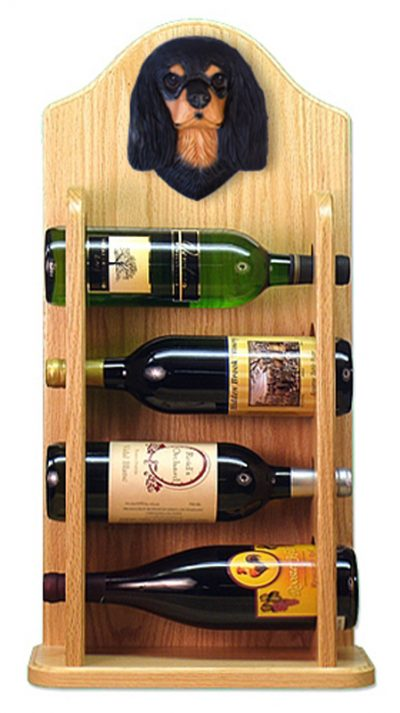 Cavalier Charles Dog Wood Wine Rack Bottle Holder Figure Blk/Tan 4