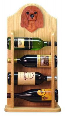 Cavalier Charles Dog Wood Wine Rack Bottle Holder Figure Ruby 4