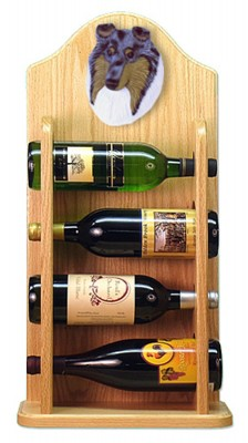 Collie Dog Wood Wine Rack Bottle Holder Figure Blu 4