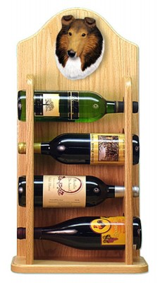 Collie Dog Wood Wine Rack Bottle Holder Figure Sable 4