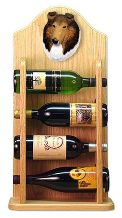 Collie Dog Wood Wine Rack Bottle Holder Figure Sable 4