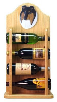 Collie Dog Wood Wine Rack Bottle Holder Figure Tri 4