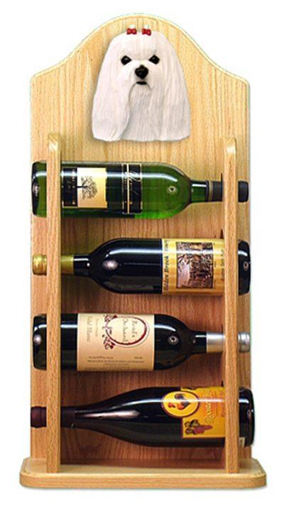 Maltese Dog Wood Wine Rack Bottle Holder Figure 4