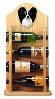 Papillon Dog Wood Wine Rack Bottle Holder Figure Blk/Wht 4