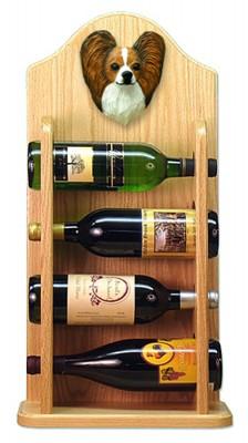 Papillon Dog Wood Wine Rack Bottle Holder Figure Brn/Wht 4