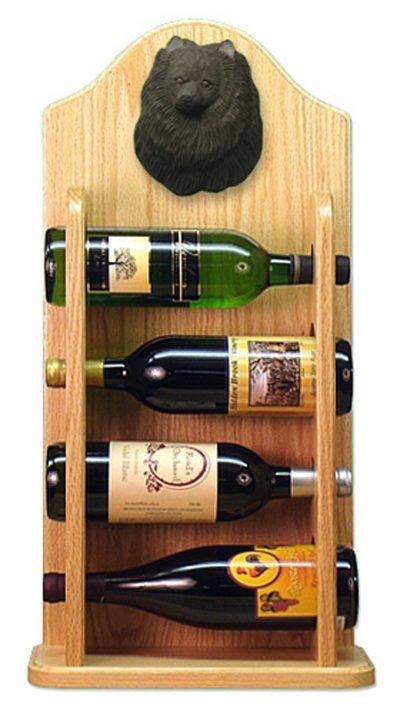 Pomeranian Dog Wood Wine Rack Bottle Holder Figure Blk 4