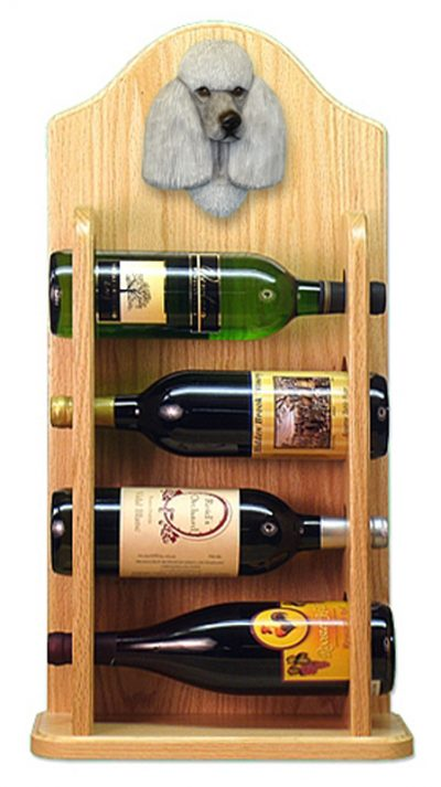 Poodle Dog Wood Wine Rack Bottle Holder Figure Grey 4