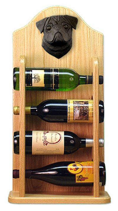 Pug Dog Wood Wine Rack Bottle Holder Figure Blk 4
