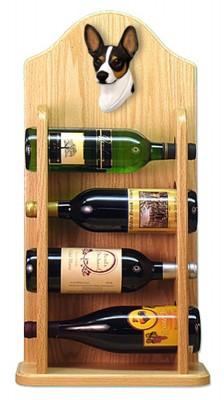 Rat Terrier Dog Wood Wine Rack Bottle Holder Figure Tri 4