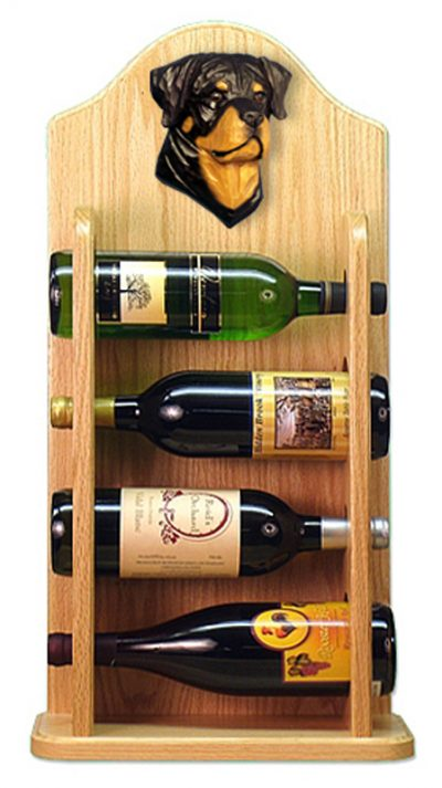 Rottweiler Dog Wood Wine Rack Bottle Holder Figure 4