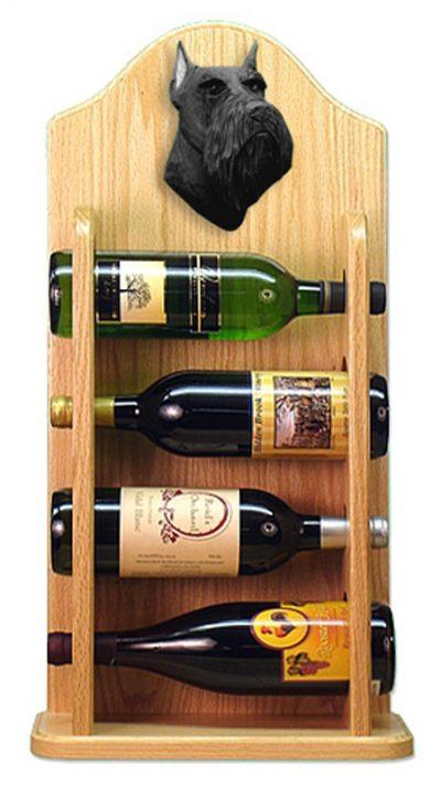 Schnauzer Dog Wood Wine Rack Bottle Holder Figure Blk 4