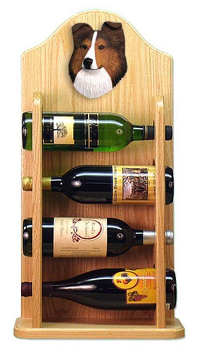 Sheltie Wood Dog Wood Wine Rack Bottle Holder Figure Sable 4