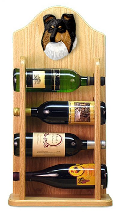 Sheltie Wood Dog Wood Wine Rack Bottle Holder Figure Tri 4