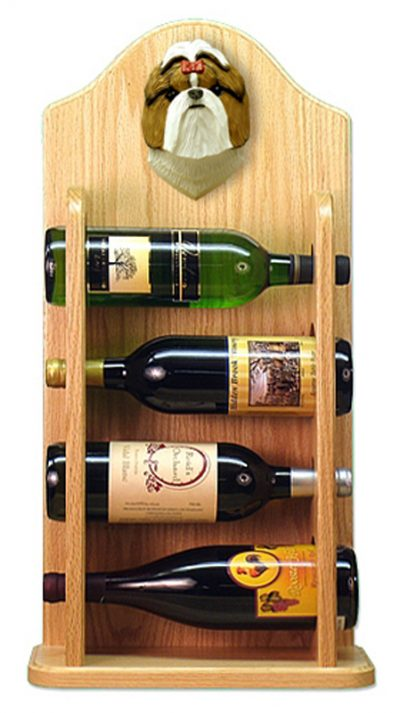 Shih Tzu Dog Wood Wine Rack Bottle Holder Figure Brn/Wht 4
