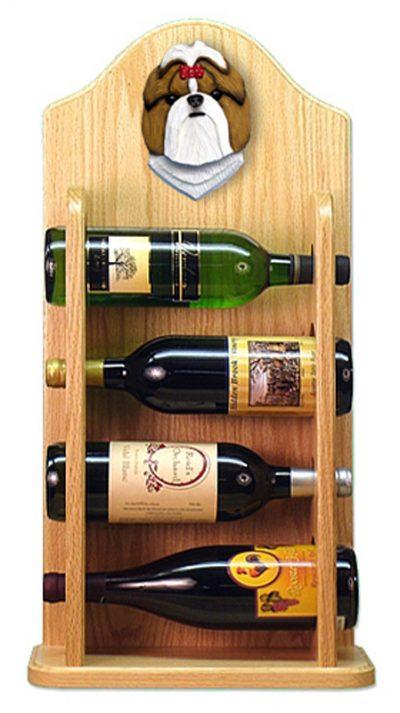 Shih Tzu Dog Wood Wine Rack Bottle Holder Figure Gold/Wht 4