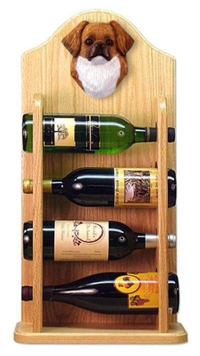 Tibetan Spaniel Dog Wood Wine Rack Bottle Holder Figure Red 4