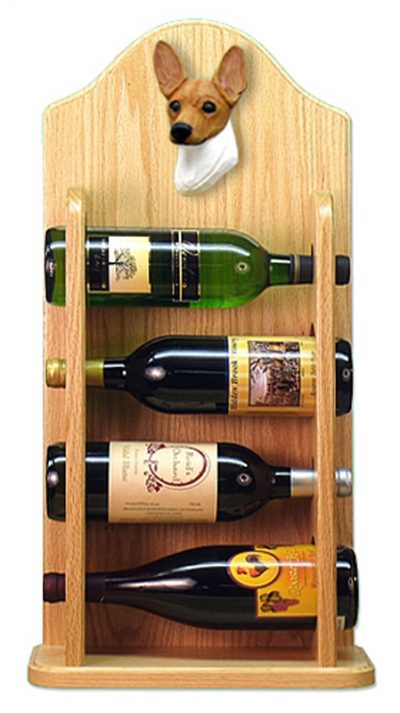 Toy Fox Terrier Dog Wood Wine Rack Bottle Holder Figure Red/Wht 4