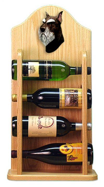 Schnauzer Dog Wood Wine Rack Bottle Holder Figure Blk/Silver 4