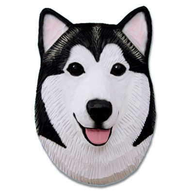 Alaskan Malamute Head Plaque Figurine Black/White