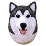 Alaskan Malamute Head Plaque Figurine Grey/White