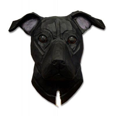 Am.Staffordshire Terrier Head Plaque Figurine Black Uncropped