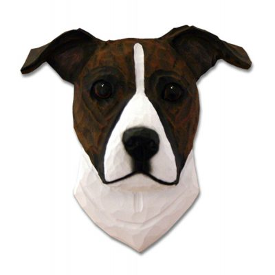 Am.Staffordshire Terrier Head Plaque Figurine Brindle/White Uncropped