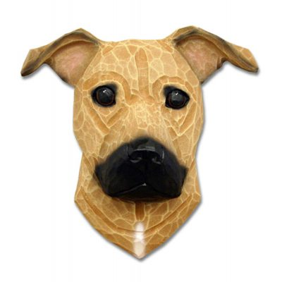 Am.Staffordshire Terrier Head Plaque Figurine Fawn Uncropped
