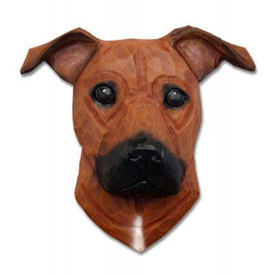 Am.Staffordshire Terrier Head Plaque Figurine Red Uncropped