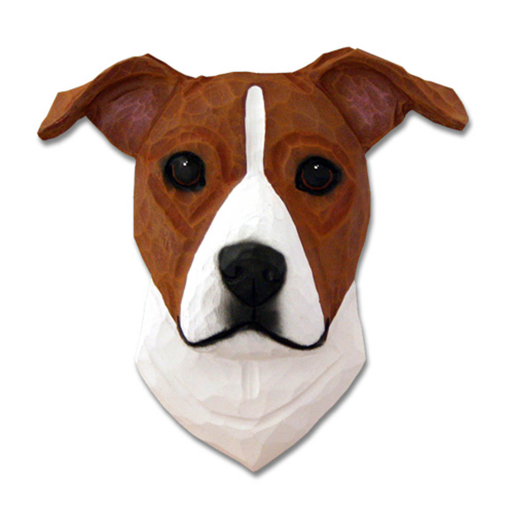 Am.Staffordshire Terrier Head Plaque Figurine Red/White Uncropped